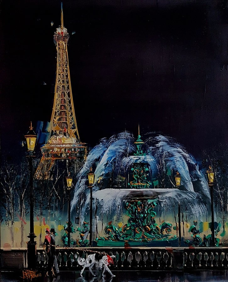 Contemporary Canadian Painter Kamiar Gajoum Place De La Consorde La Nuit Oil 8.5x10.5