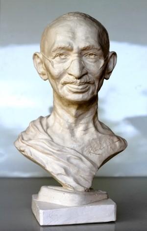 "Rudolf Sokolovski Gandhi Life Size Cast Stone 20"""