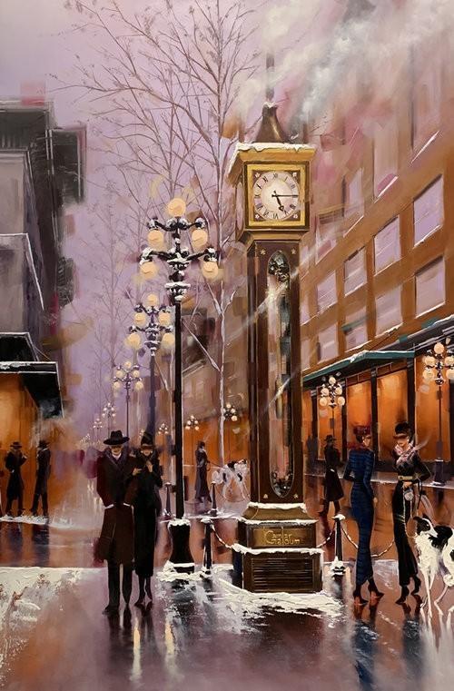 Contemporary Canadian Painter Kamiar Gajoum Steamclock Winter