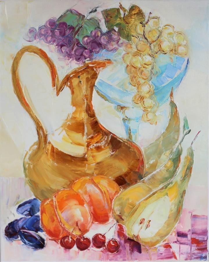 Valeri Sokolovski Vin and Fruits Original Oil 20x16