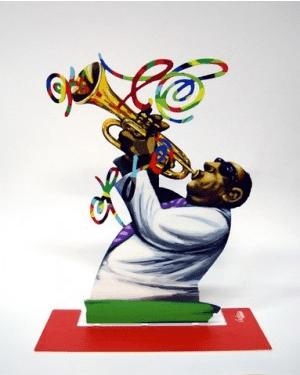 David Gerstein Jazz Club Trumpeter Sculpture 12x9.5 in