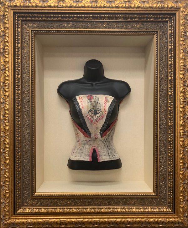 Frida Kahlo-Original Corset-Painted both sides- Frame 42x34x5
