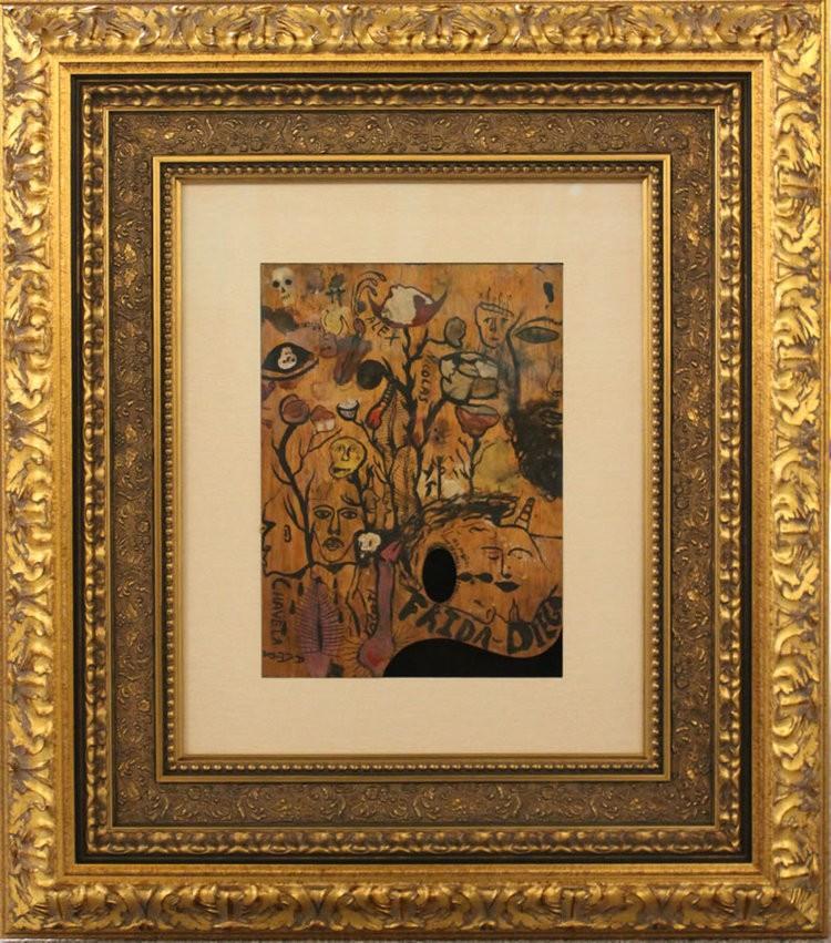 Frida Kahlo Original Paint Pallet Painted both sides Frame 33x29