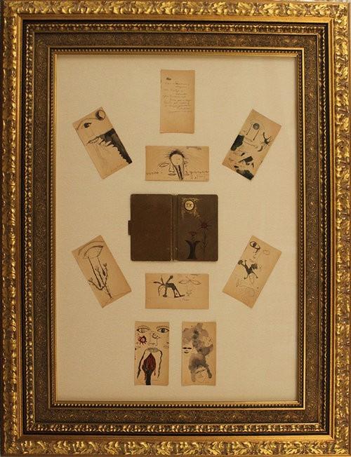 FridaKahlo Original Sketch Book 8 SKetches & 1 Poemand Book Cover Frame53x40.5