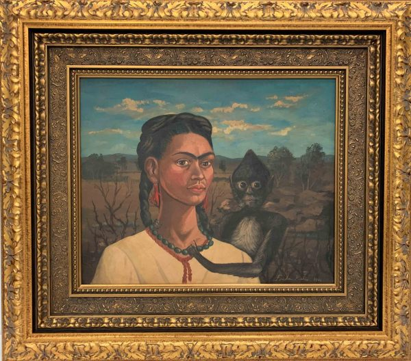 Frida Kahlo-Self Portrait-With Monkey-Original Oil-18x22 -Framed-30x34