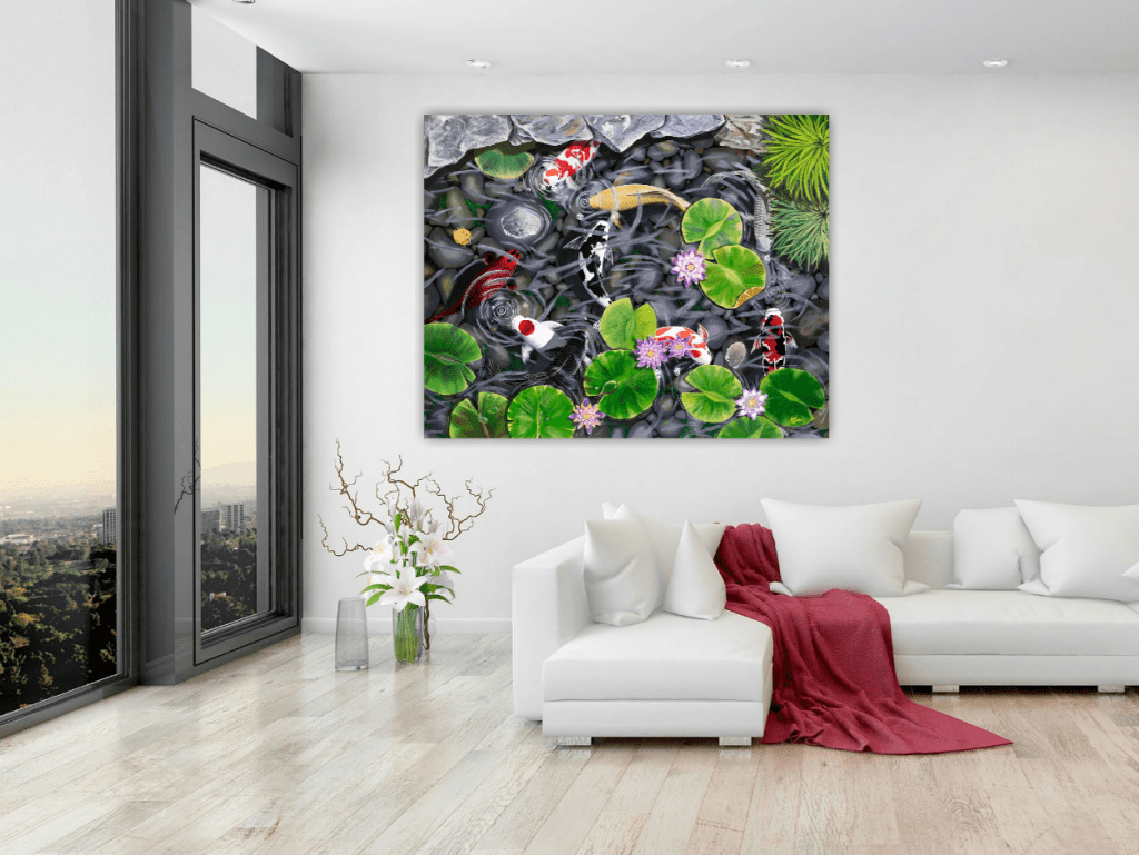 """Painting on the living room wall. Title: Nine Koi, L.E 40""""x50"""" by Holly Bromley. Fish in lotus Pond."""