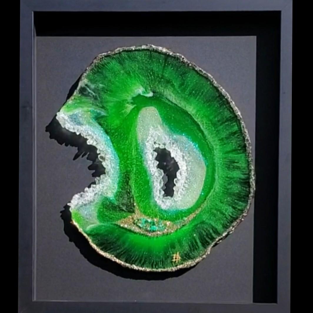 Holly Bromley Emerald-Dreams_Original Mixed Media & Resin_21.5x18.5