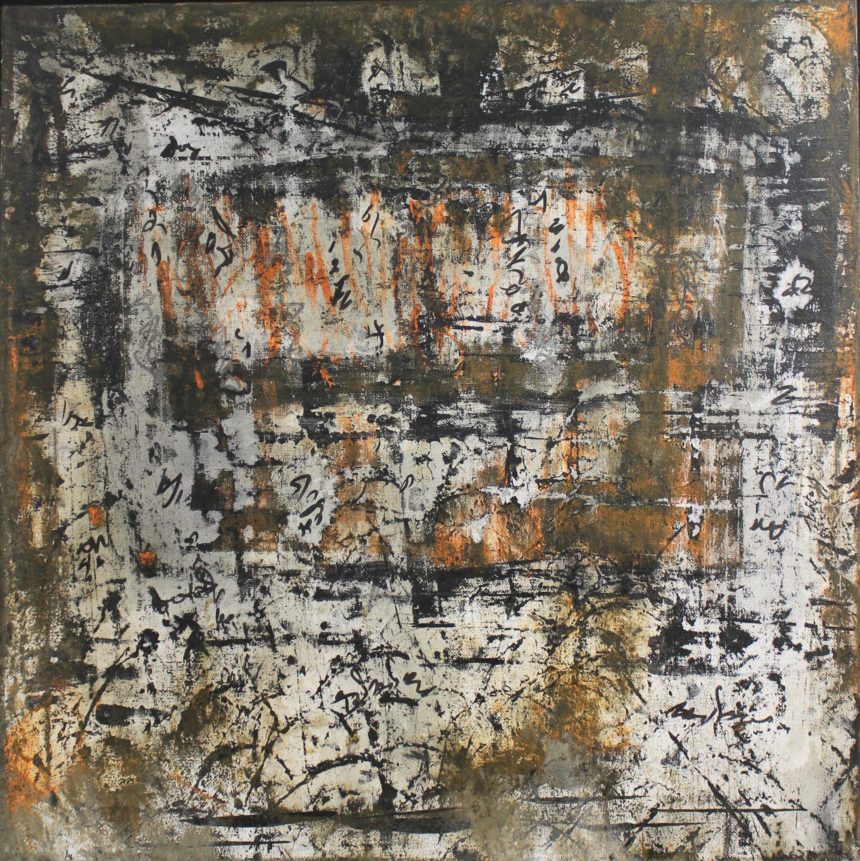 G Kim Hinkson - Writing On The Wall Abstract Acrylic Painting 20x20
