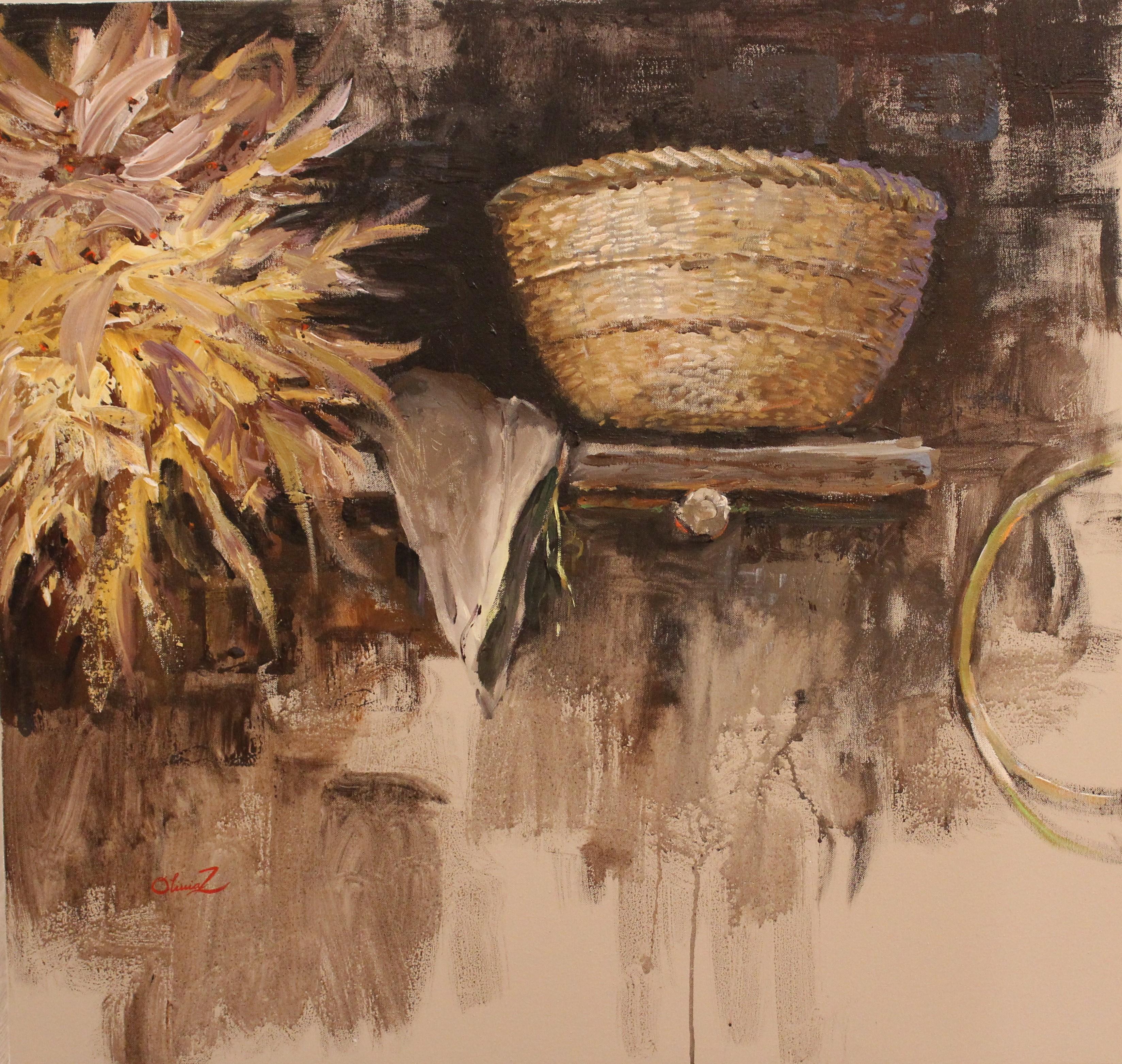 Olivia Zeng -Bamboo Basket- Original Oil Painting 32x30
