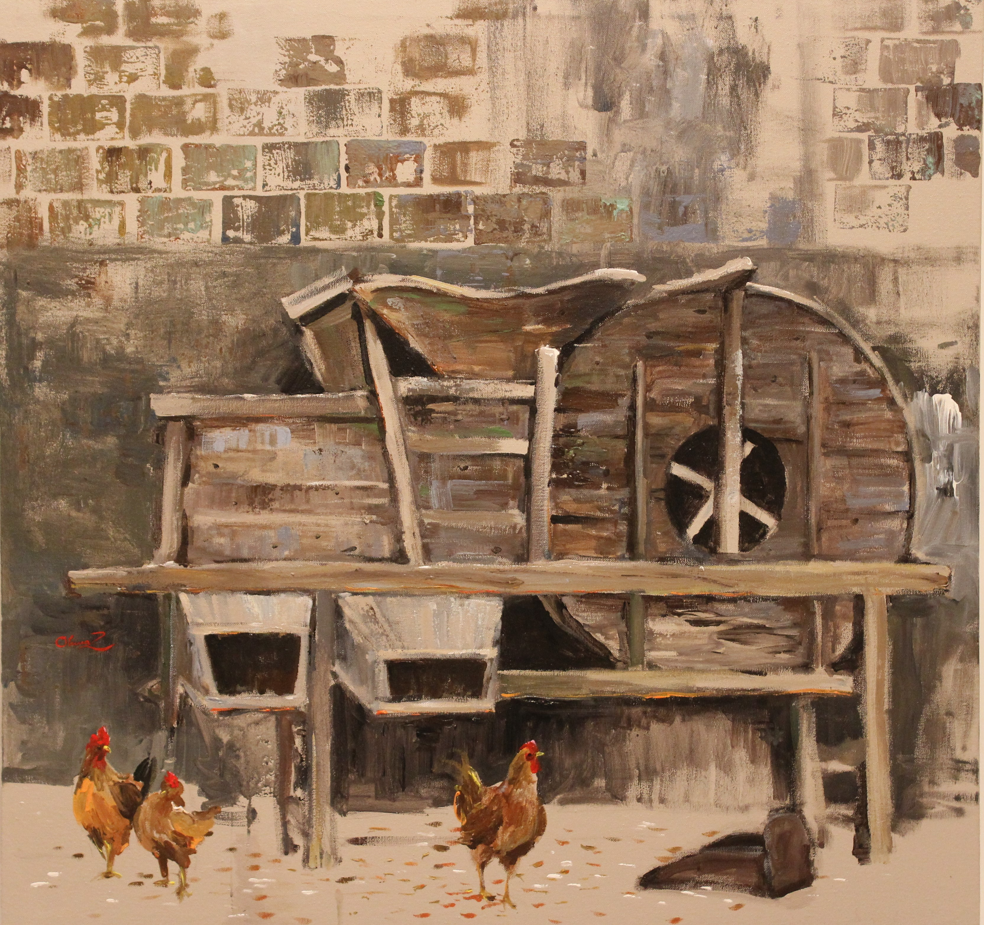 Olivia Zeng -Chickens By the Rice Mill-Original Oil Painting 32x30