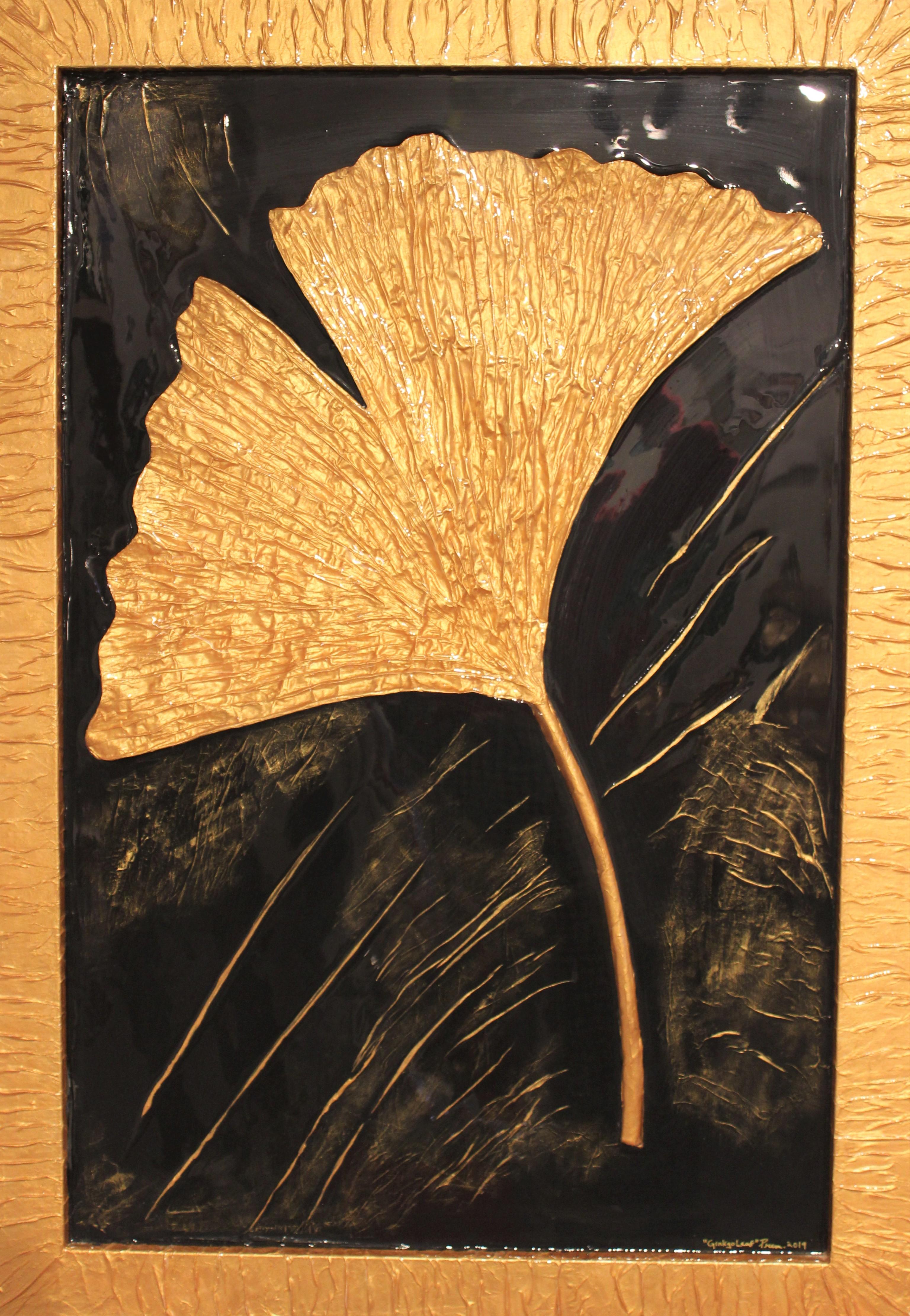 Prem- Golden Ginkgo- Original Mixed Media Painting -28x24
