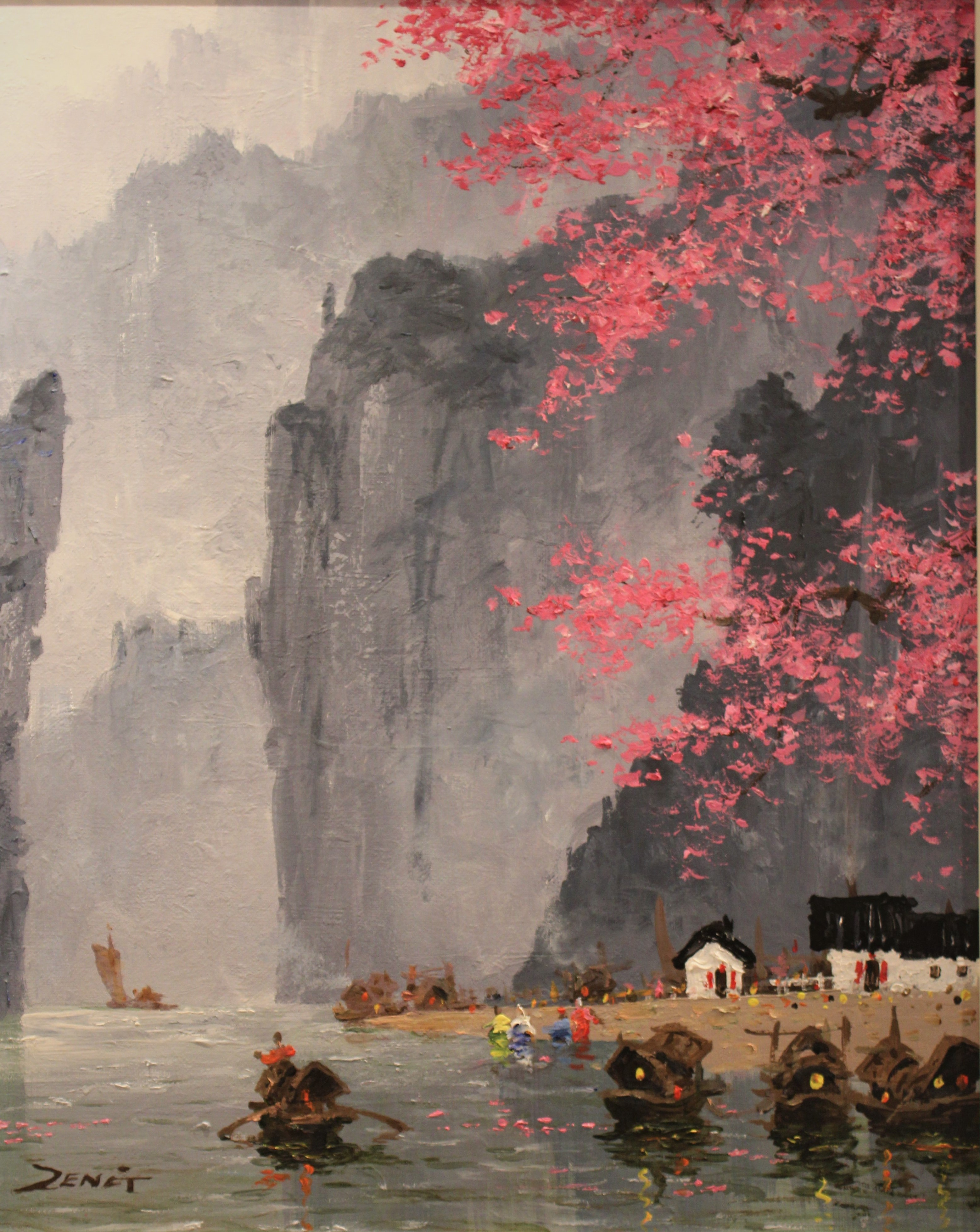 Uncle Zeng Blossoms With Mountains Original Oil Painting 20x16
