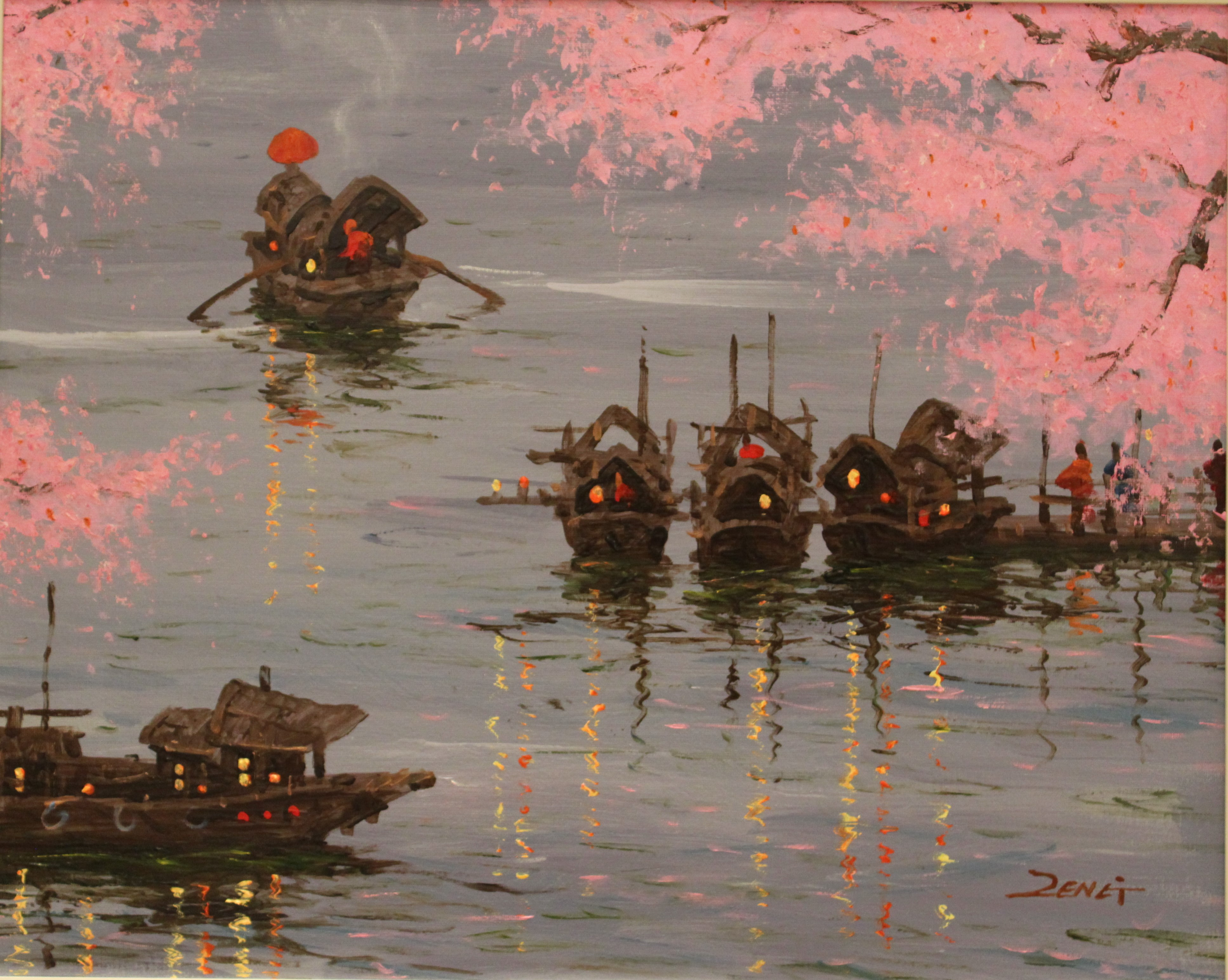 Uncle Zeng Little Boats With Blossoms Original Oil Painting 16x20