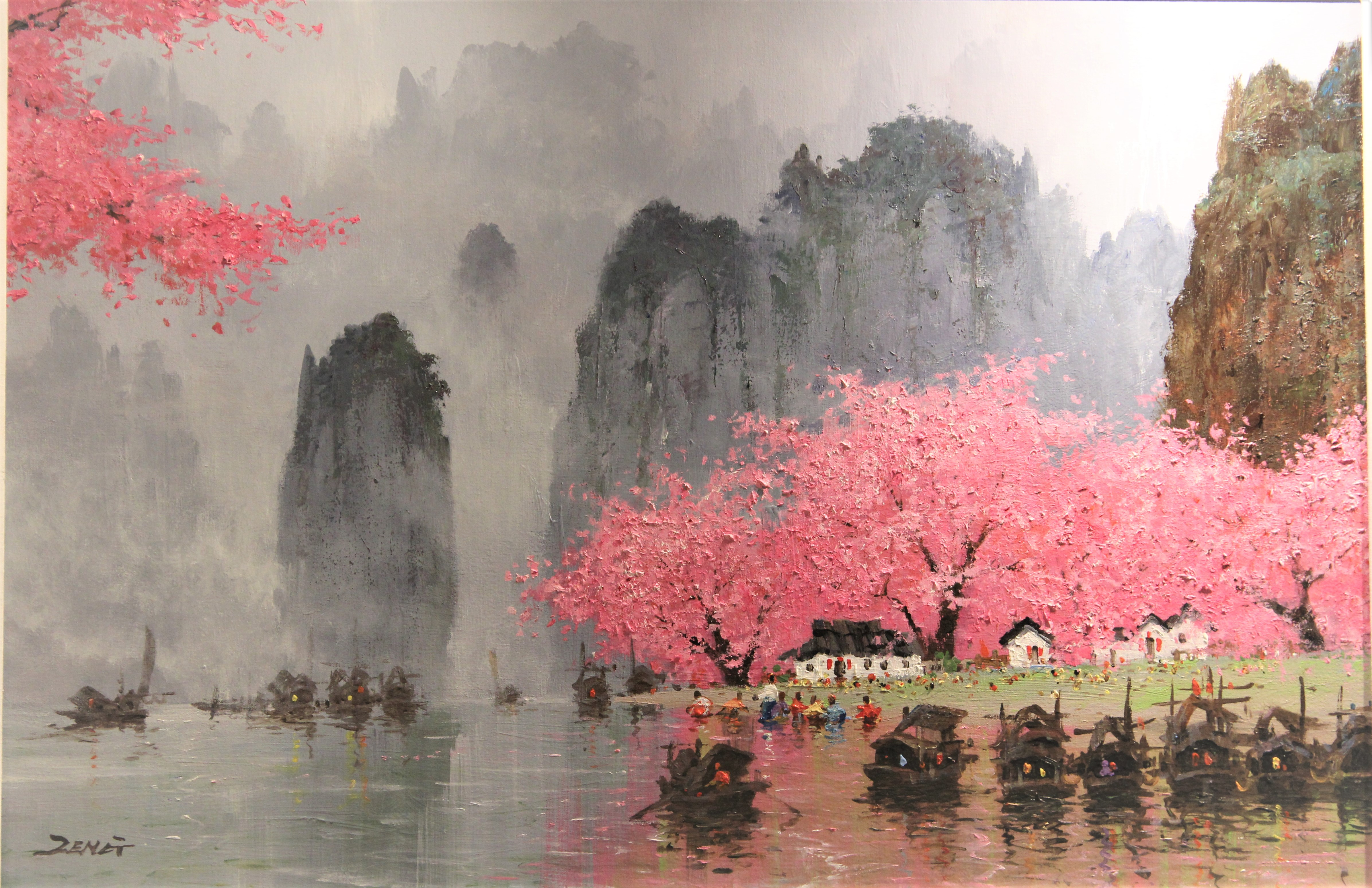 Uncle Zeng Peach Blossom Spring Original Oil Painting 24x36