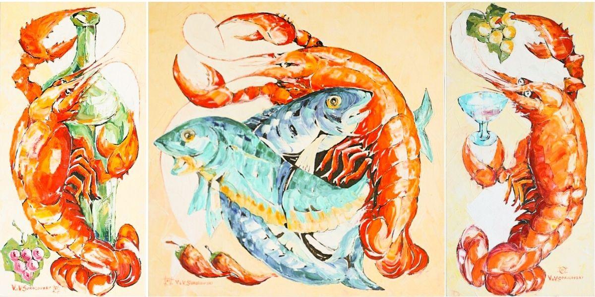 Valeri Sokolovski Lobster on White(Triptych) OriginalOil 24 x48