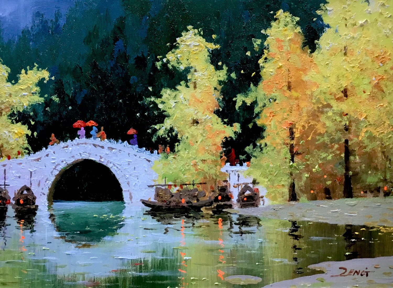 Uncle Zeng-Yellow Trees- Original Oil on Canvas 12x16