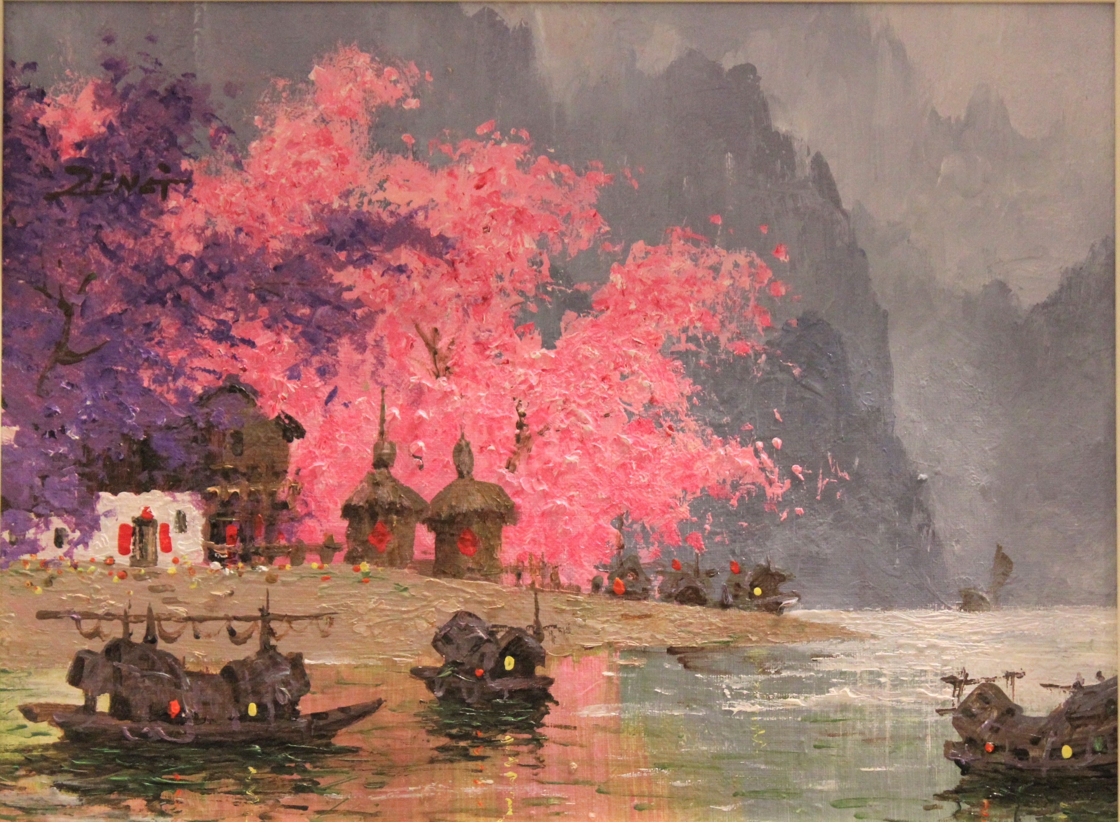 Uncle Zeng Blossoms with Purple Original Oil on Canvas 12x16