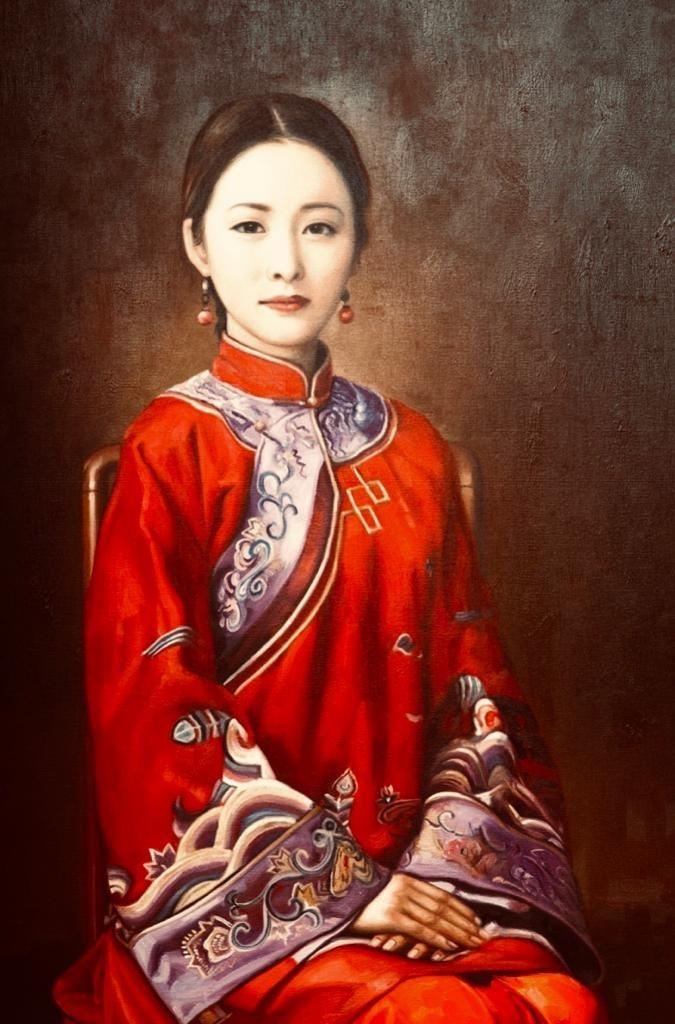 Cecilia Aisian-Gioro-Birde in Red-Original Oil -39x55