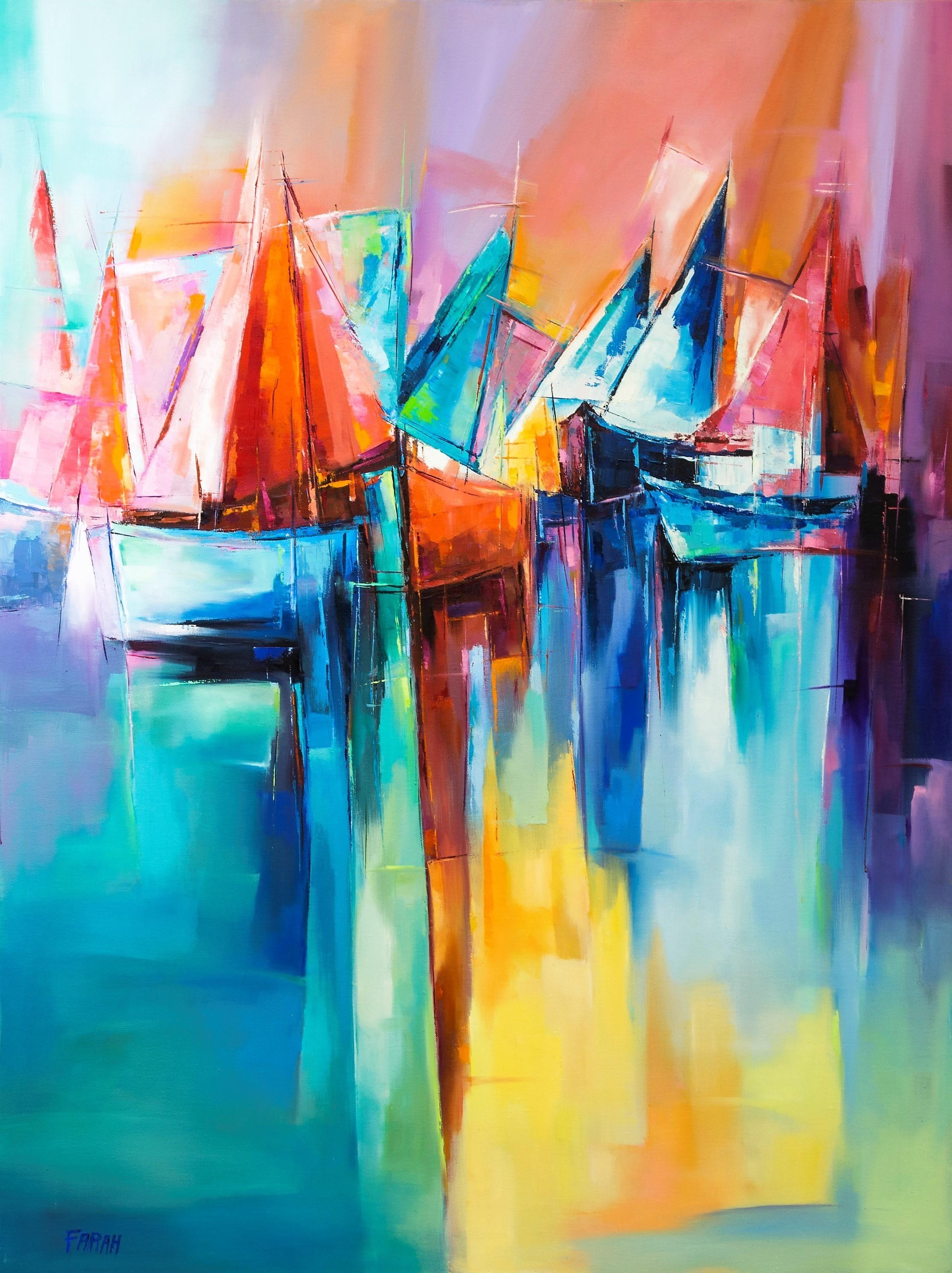 Farahnaz Samari Living on th Edge 4 Oil on Canvas 48x36
