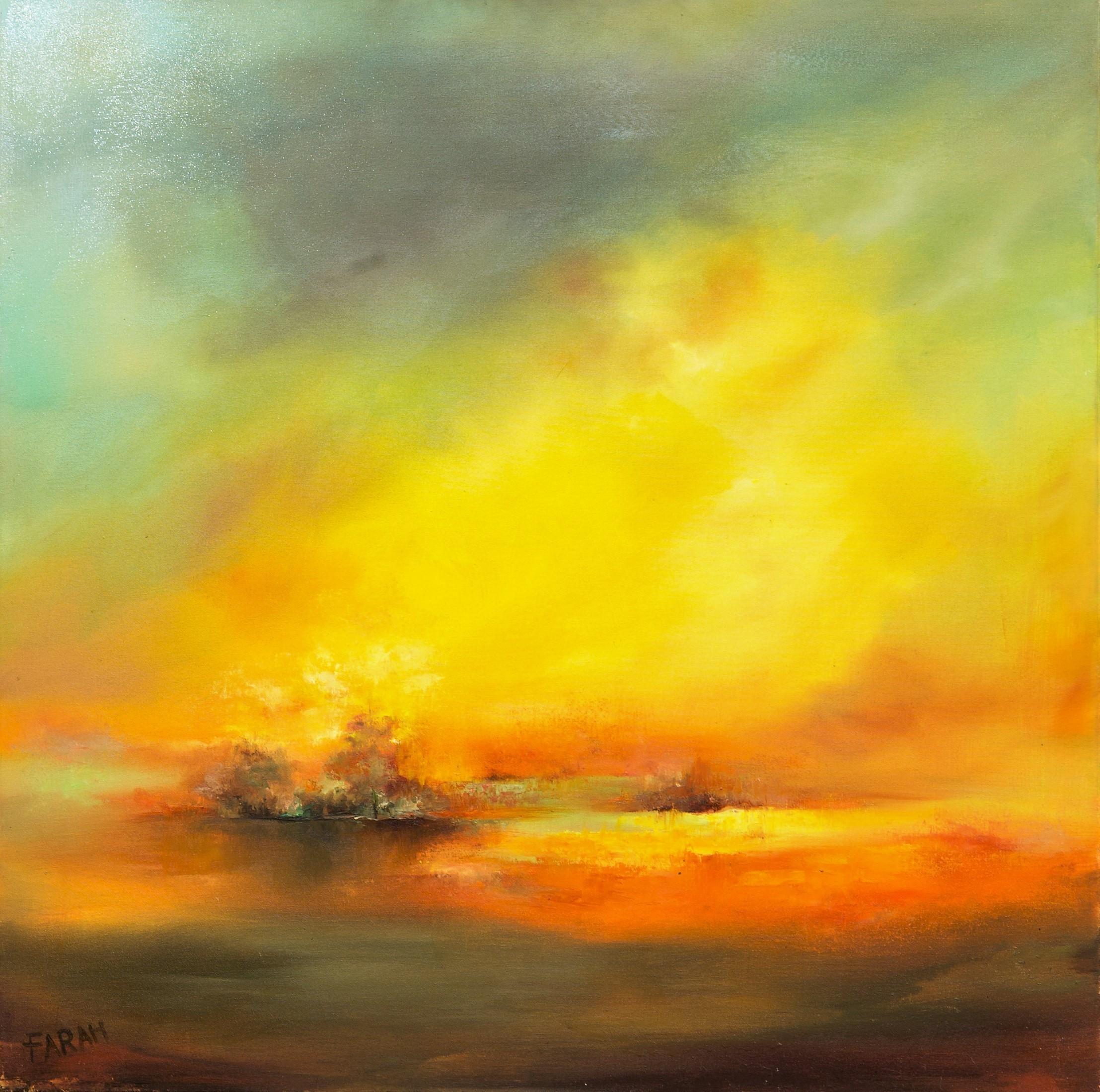 Farahnaz Samari-Sunset-Original Oil Painting 36x36
