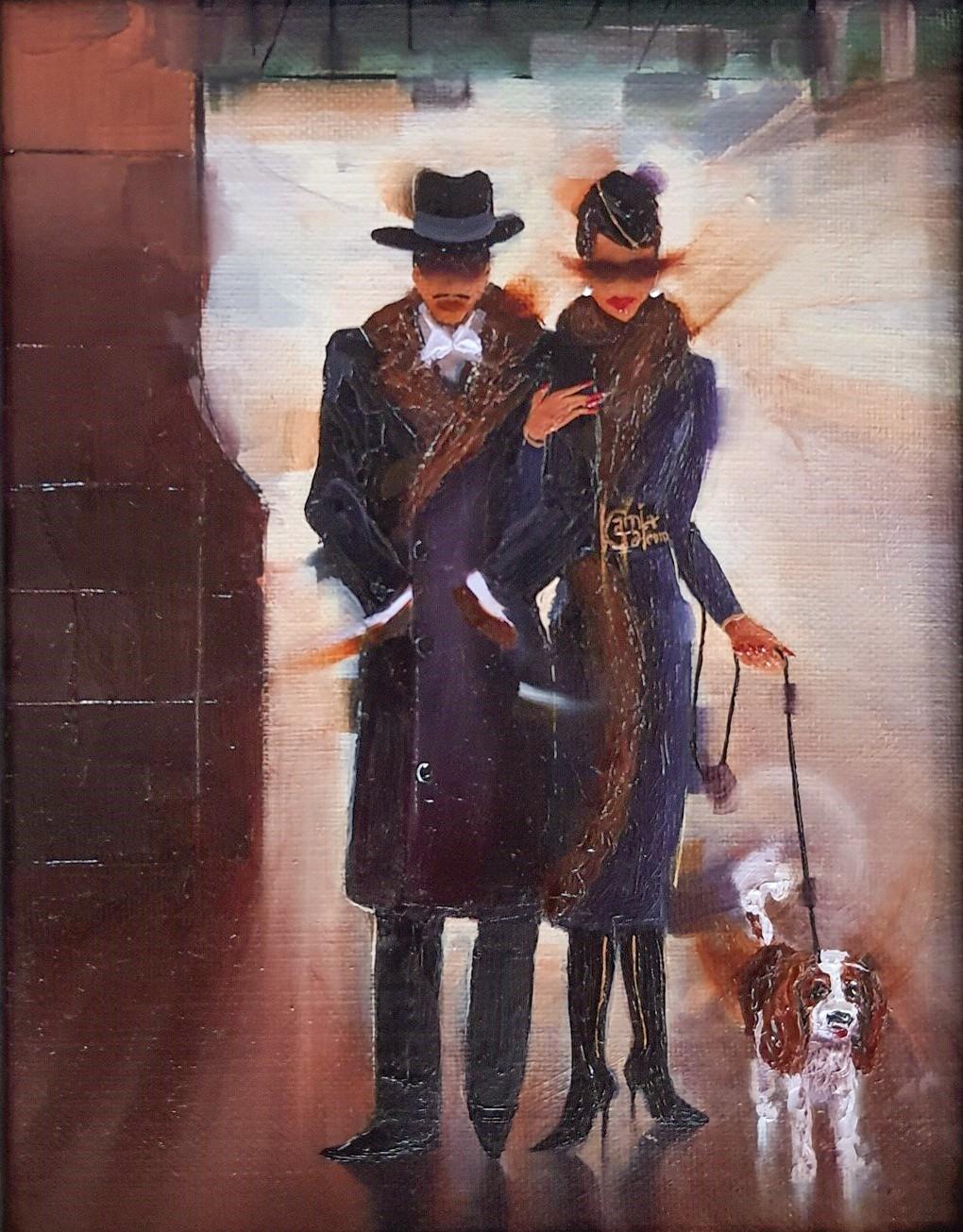 Kamiar Gajoum Elegant Couple By Night Original Oil Painting 7x5.5