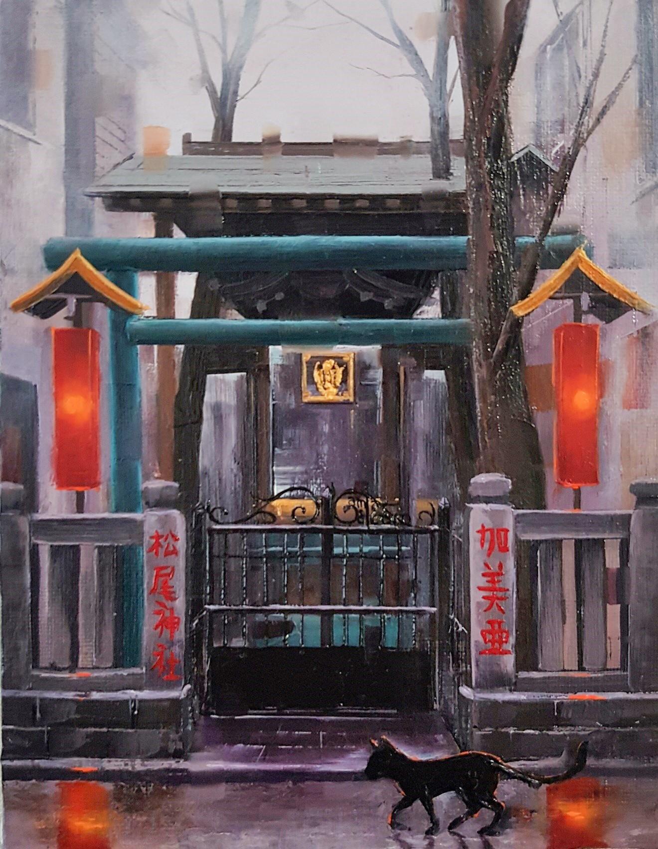Kamiar Gajoum Jinjya II Original Oil Painting 7x5.5