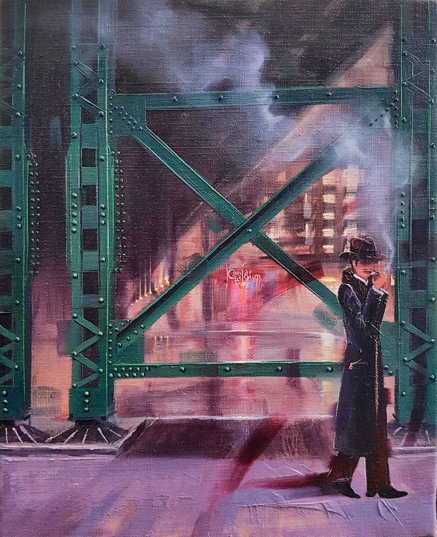 Kamiar Gajoum Night Smoke Oringinal Oil Painting 11x9