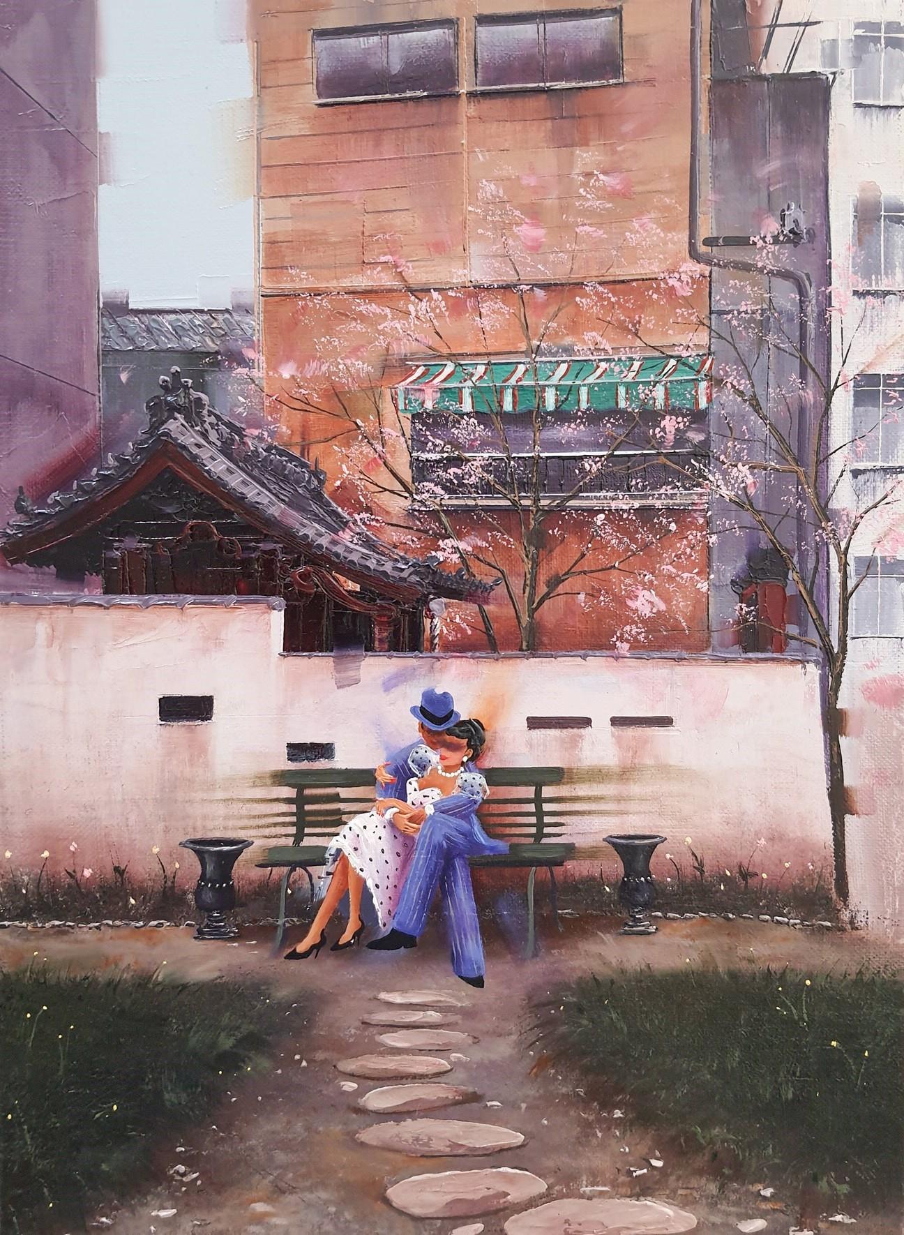 Kamiar Gajoum Our Time Original Oil Painting 13x9.5