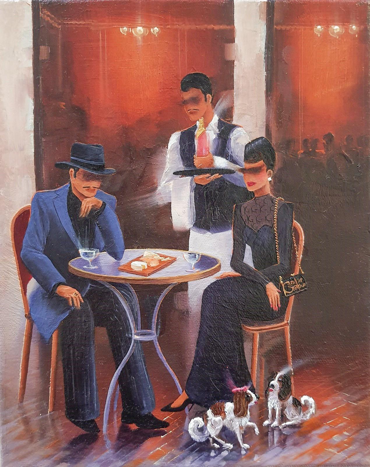 Kamiar Gajoum Parisian Cafe Original Oil Painting 10x8