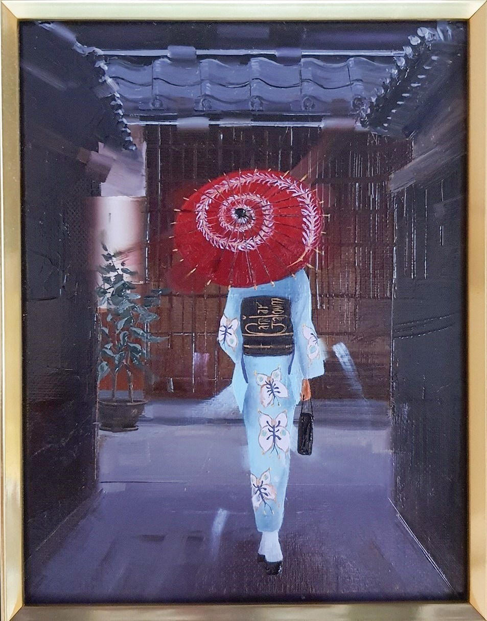 Kamiar Gajoum Tea Time Original Oil Painting 7x5.5