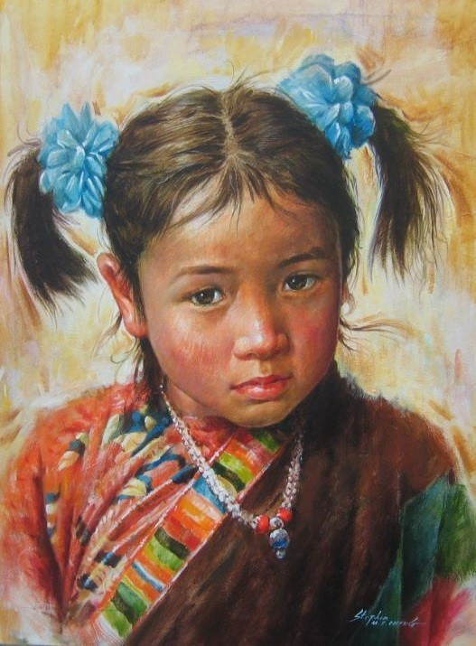 Stephen Cheng-Girl From Lhasa-Original Acrylic Painting 24x18