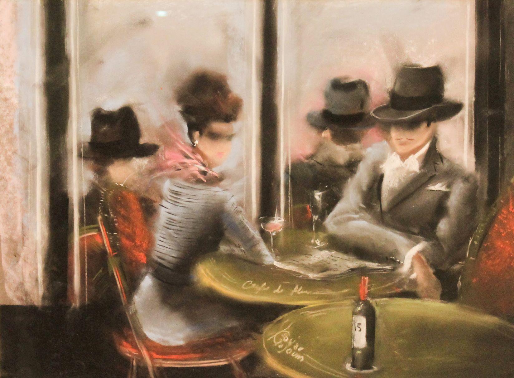 Kamiar Gajoum-Original Pastel Painting Cafe De Flore 19x22