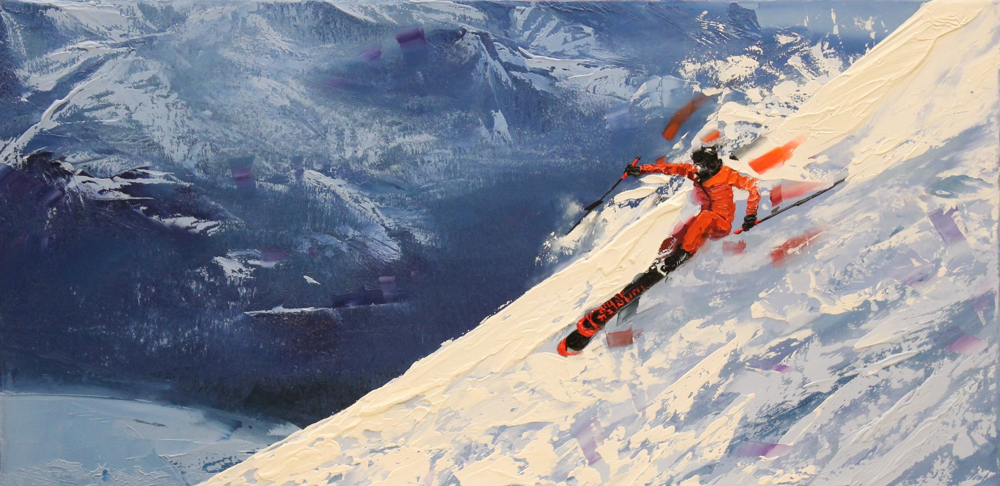 Kamiar Gajoum Ski Original Oil Painting12x24