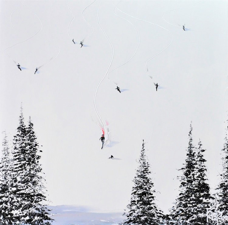 Kamiar Gajoum Fresh Powder Original Oil Painting 18X18