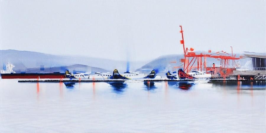 Kamiar Gajoum Harbour Air Canada Place Original Oil Painting 10X20
