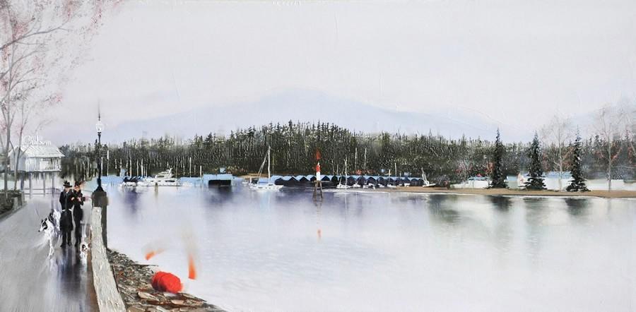 Seawall & Stanley Park Oil Painting 12x24 Kamiar Gajoum