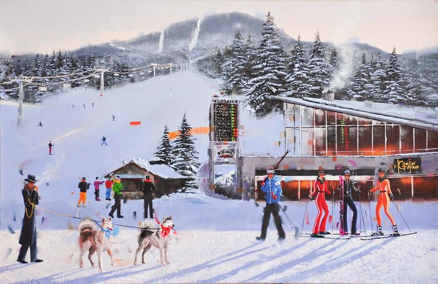 Kamiar Gajoum Ski Resort Whistler Original Oil Painting 26x40