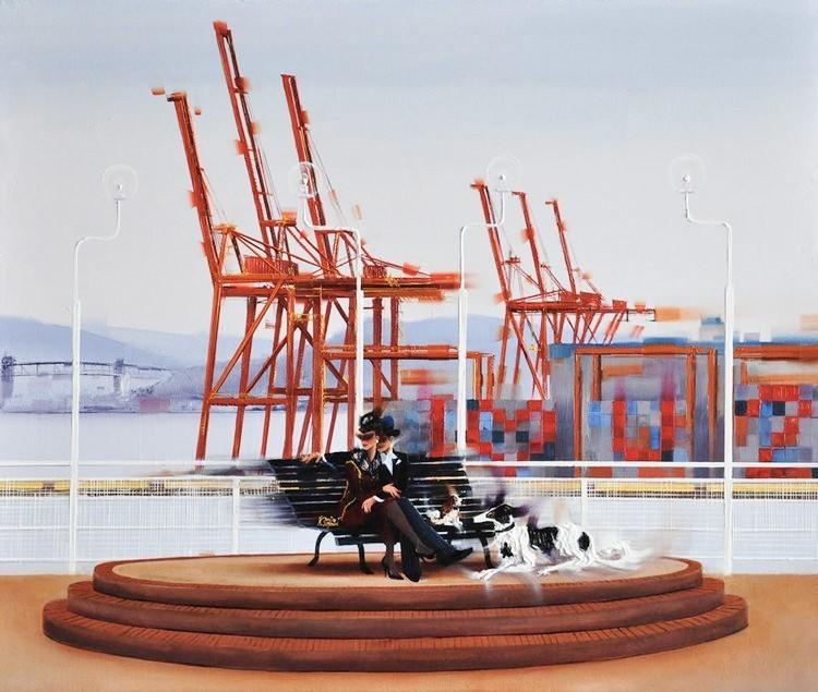 Kamiar Gajoum Vancouver Port & Canada Place Original Oil 20X24