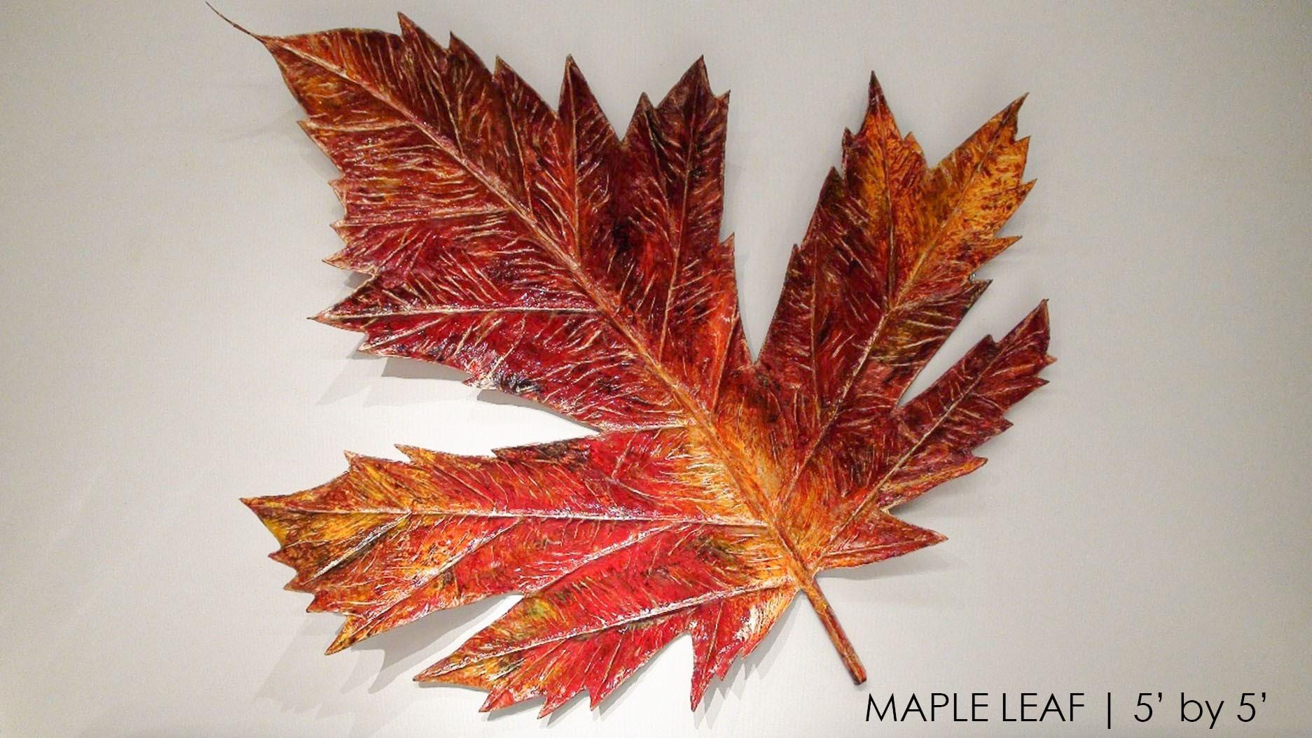 Prem Maple Leaf 2 Original Mixed Media Wall hang Sculpture 60x60
