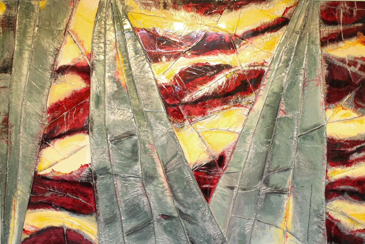 Prem_Hand Of Light Original Acrylic, Paper, Resin Painting 48x72
