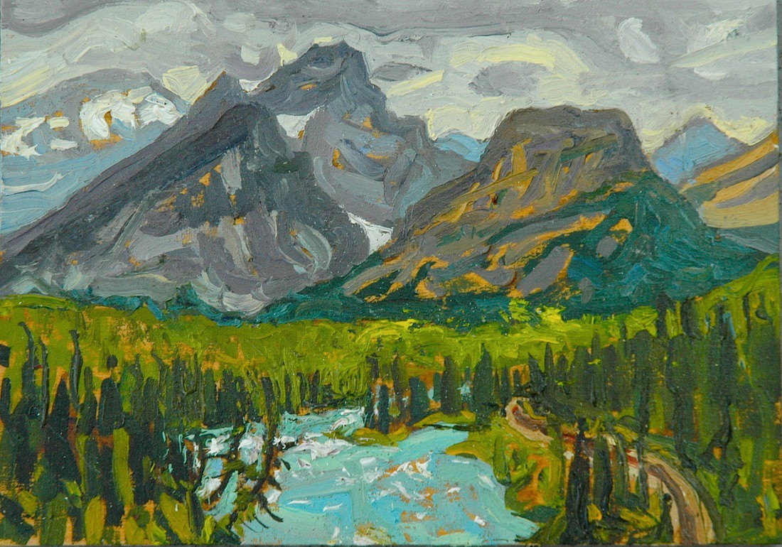 Bow River From Morantz Point Oil on Panel 5x7 Dennis Brown