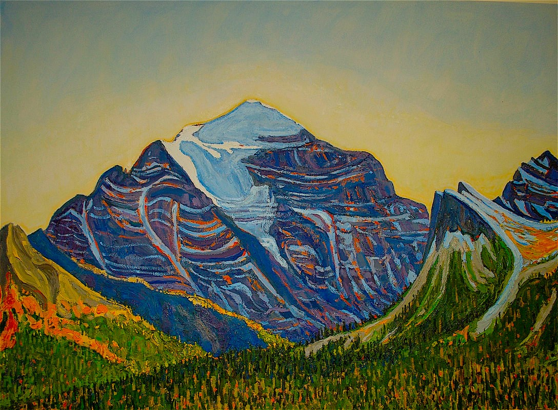 Mt. Temple Oil Painting 30x42 by Dennis Brown