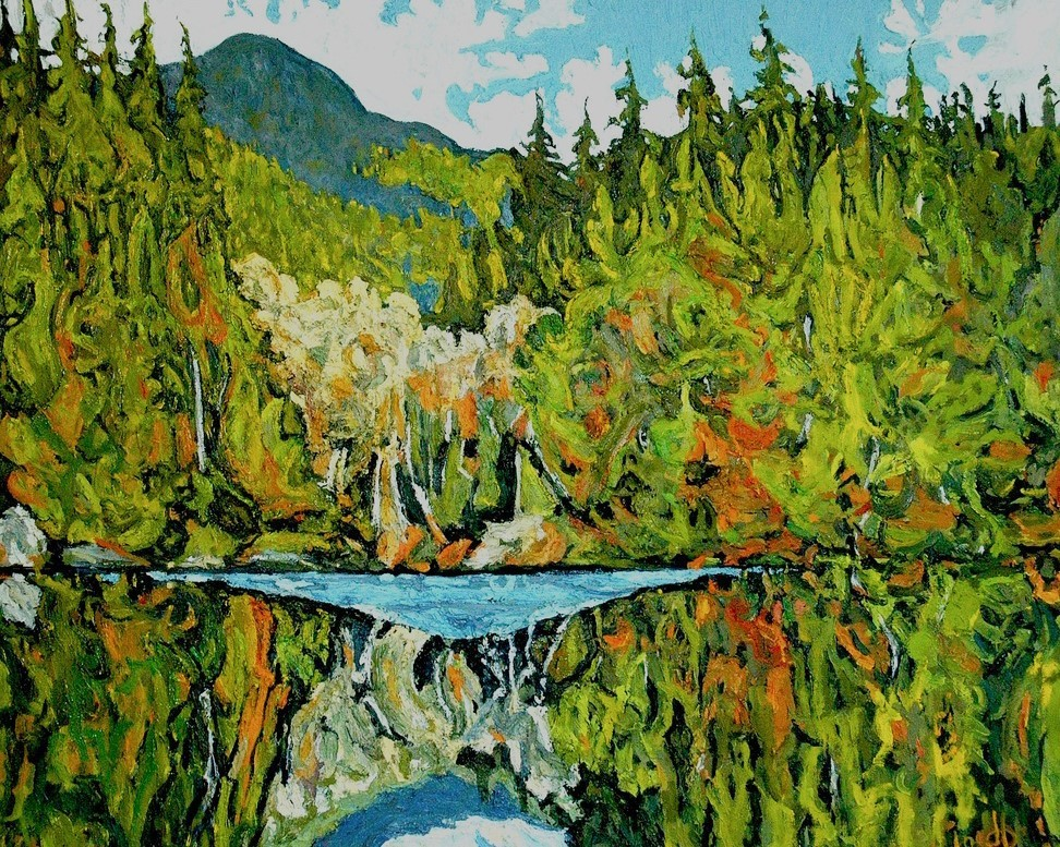 Rice Lake Reflection Oil Painting 20x28 Dennis Brown