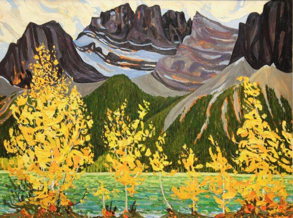 Rockies In Fall Oil Painting 36x48 Dennis Brown