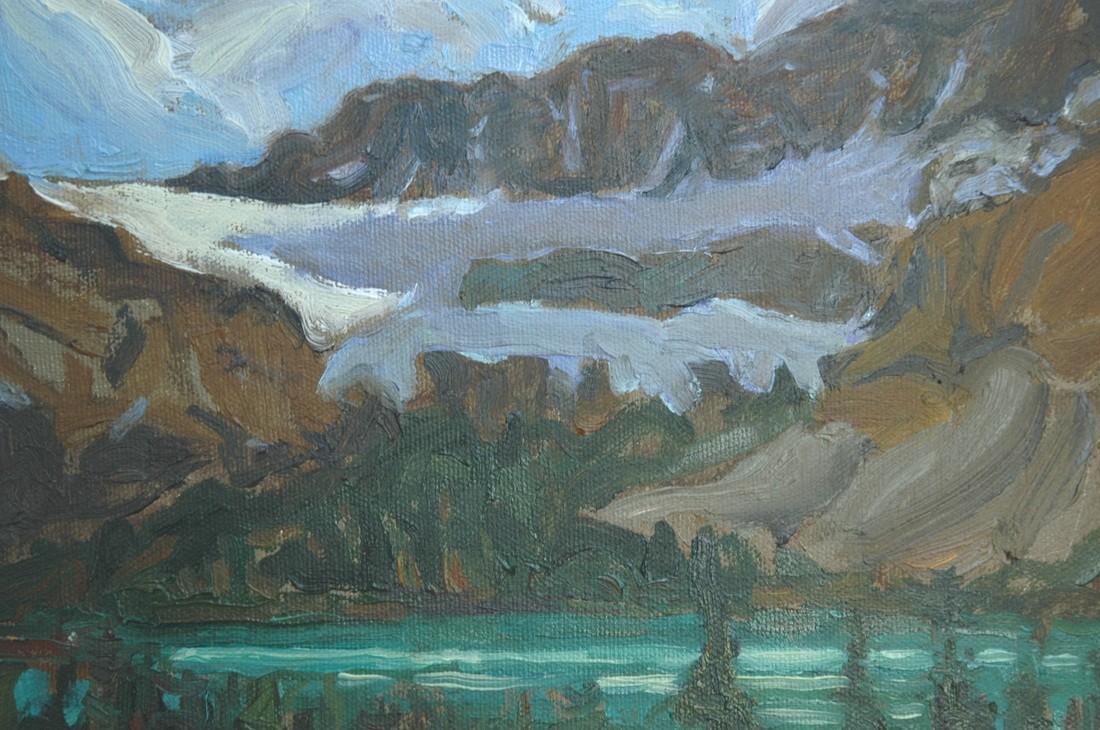 Crowfoot Glacier Oil on Canvas 8x10 Dennis Brown