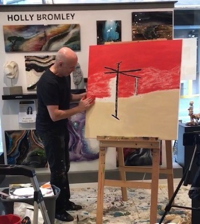Events. Vancouver artist G Kim Hinkson Live Painting in Vancouver Fine Art Gallery