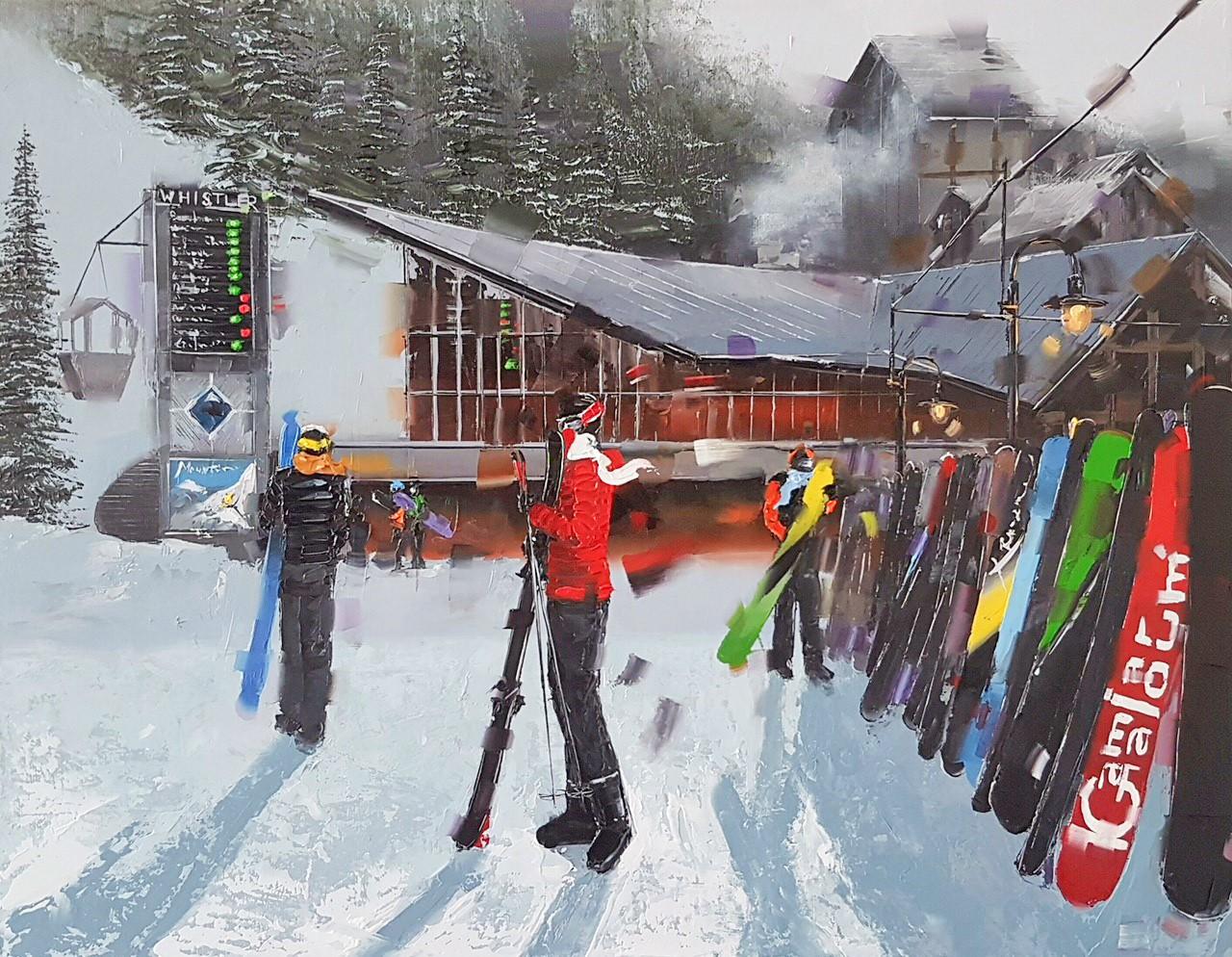Kamiar Gajoum Apres Ski Whistler Blackcomb Original Oil Painting 14x18