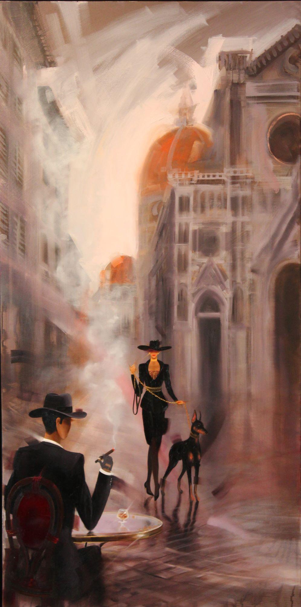 Kamiar Gajoum Firenze Original Oil Painting 48x24