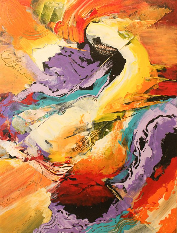 Lavender Stream Abstract Acrylic Painting 48x36 Valeri Sokolovski