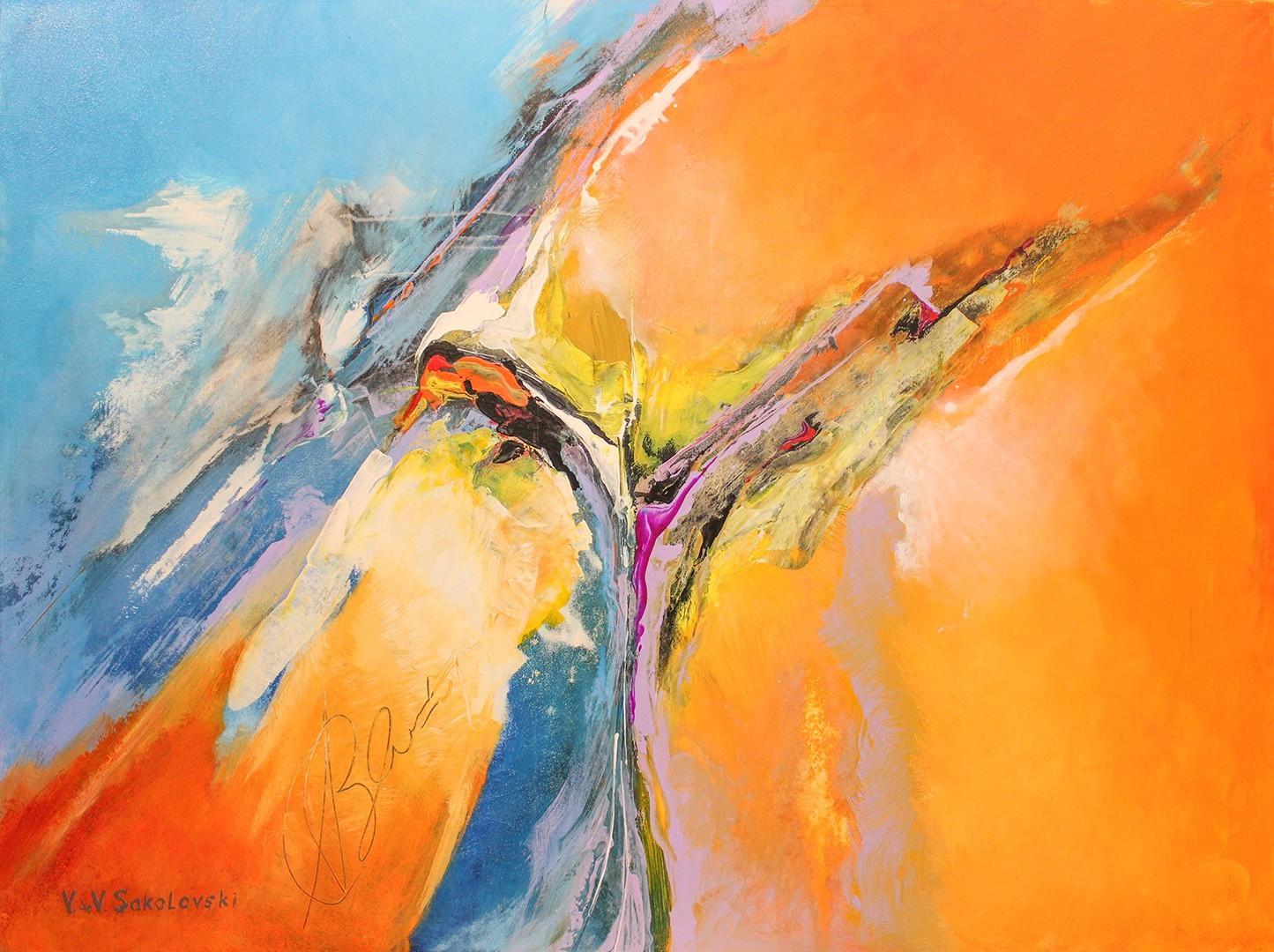 Dreamland Abstract Acrylic Painting 36x48 Valeri Sokolovski